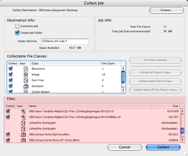 Collect Files Window Section in Markzware FlightCheck