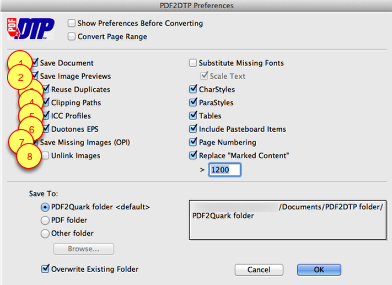 Markzware PDF2DTP for QuarkXPress Document Settings Preferences