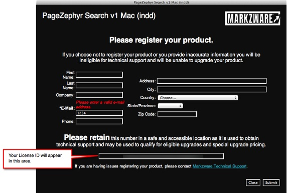 Markzware PageZephyr Search Mac Registration