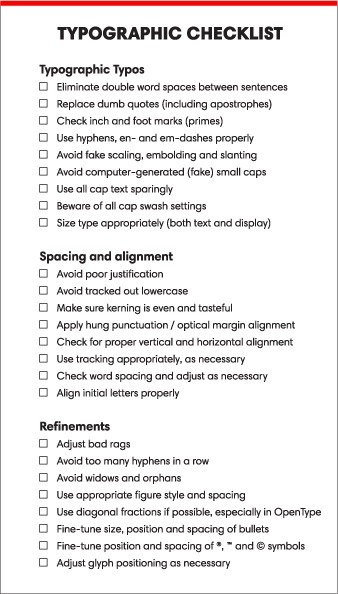 Typographic Checklist for Preflighting with Markzware FlightCheck