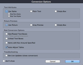 Conversion Options in ID2Q XTensions Bundle to Open InDesign CC 2018 in QuarkXPress macOS