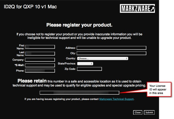 Markzware ID2Q QuarkXPress 9 10 Mac Registration Screen