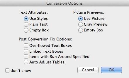 Markzware ID2Q para las opciones de conversión posterior Fix QuarkXPress