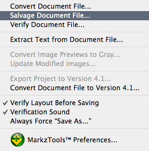 Markzware MarkzTools Menu: Salvage Document File option