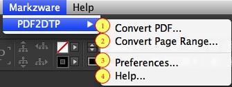 PDF2DTP Menú para convertir archivos PDF a Adobe InDesign Creative Cloud (PDF a InDesign CC)