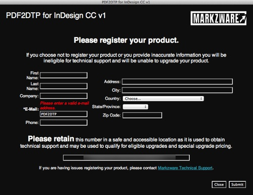 Markzware PDF2DTP for InDesign CC Mac Win Registration Required Field
