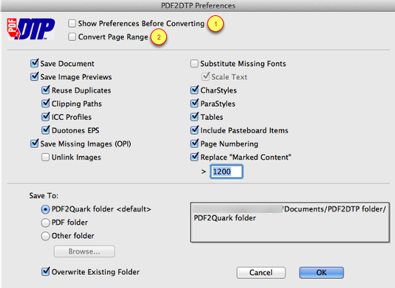 Markzware PDF2DTP for QuarkXPress General Preferences