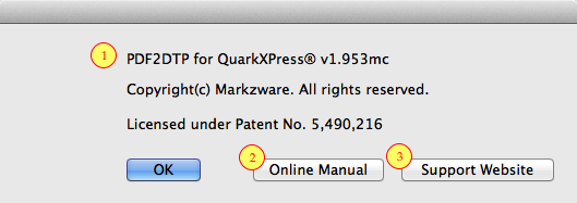 Markzware PDF2DTP for QuarkXPress Help Menu Item