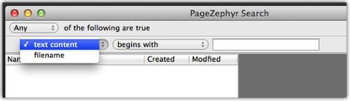 Markzware PageZephyr Buscar Mac Criterios de nombre de archivo de contenido de texto