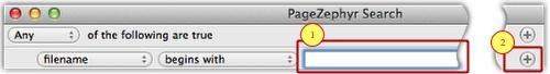 Markzware área de entrada de texto PageZephyr Buscar Mac y varios criterios de búsqueda