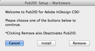 Markzware Pub2ID for InDesign CS6 Setup Window