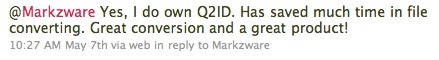 Markzware Q2ID user on Great Conversion Product for File Converting