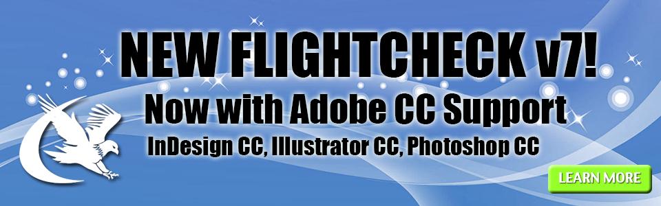 FlightCheck v7 with Adobe CC Support banner