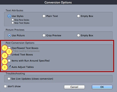 Markzware ID2Q QuarkXPress 9 10 Mac Post Conversion Fix Options