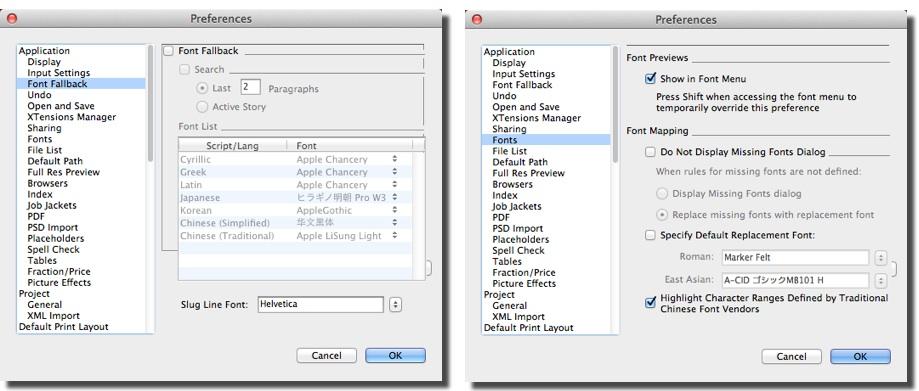 Markzware ID2Q for QuarkXPress Missing Font Window