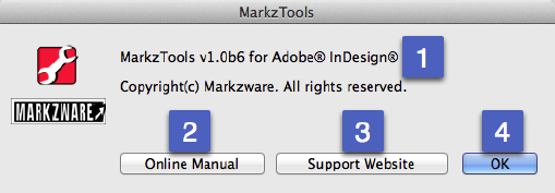 Markzware MarkzTools for InDesign Help Menu