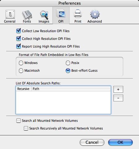 Preferencias Markzware FlightCheck OPI para recoger / Informe de baja y alta resolución