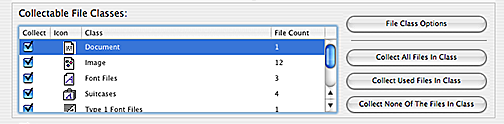 Markzware FlightCheck Collectable File Classes Document File Count in Collect Window