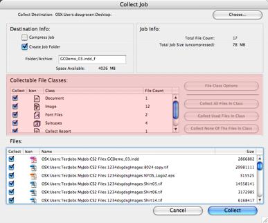 Markzware FlightCheck coleccionable archivo de área de las clases en ventana Collect