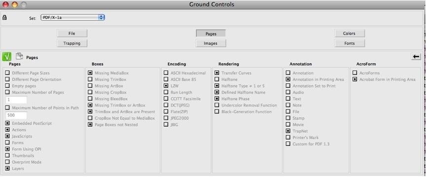 Markzware Flightcheck Seiten Ground Controls