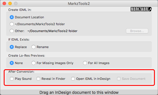 Markzware MarkzTools2 Preferences option After Conversion