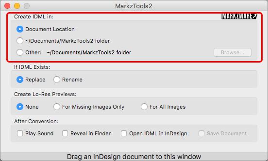 opzione Preferenze Markzware MarkzTools2 Creare IDML in