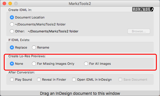 Markzware MarkzTools2 Preferences option Create Lo-Res Previews