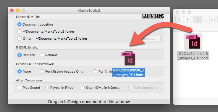 Adobe InDesign CS5 User Can Drag and Drop an InDesign CC (Creative Cloud) Version File onto Markzware MarkzTools2, to Convert the InDesign CC File to IDML, for Viewing in CS5