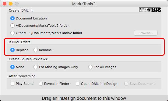 Markzware opción Preferencias MarkzTools2 Si existe IDML