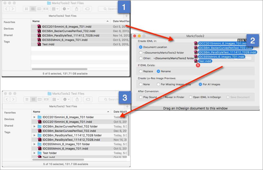 Arrastre y suelte archivos en la aplicación MarkzTools2 de Markware para convertir InDesign en IDML