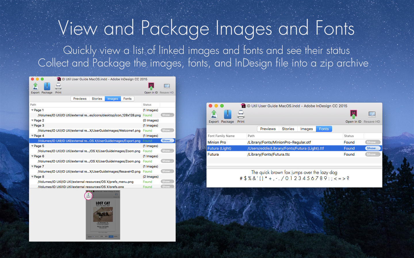 Markzware ID Util macOS View and Package Images and Fonts