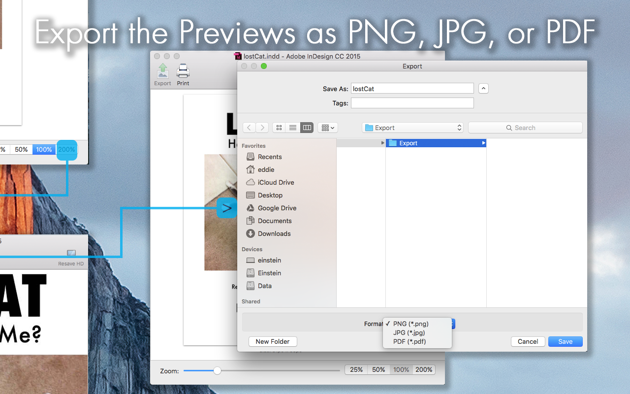 Export InDesign File (Adobe INDD) Previews as PDF, JPG or PNG, After You Preview InDesign Layouts via ID Util for macOS