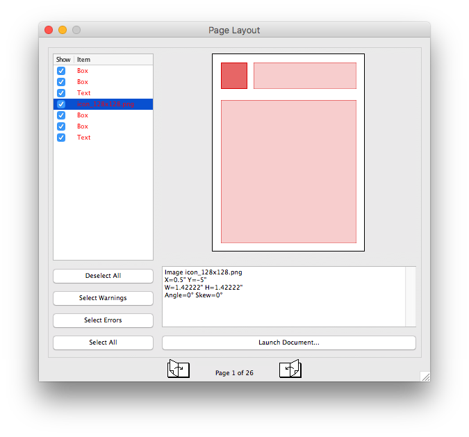 Detail in FlightCheck Page Layout Menu to Check Print Documents Created in Layout Applications for Quality