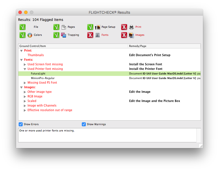 Results Window in Markzware FlightCheck Drag-&-Drop App to Check Files for Print Accuracy on macOS