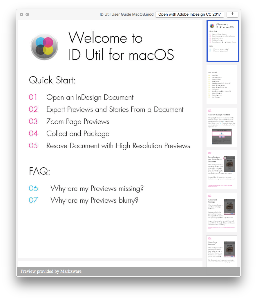 Example of Quick Look Preview via ID Util macOS for Adobe InDesign, IDML, & InCopy