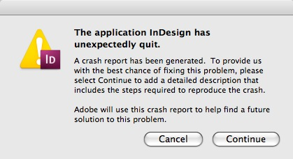 Recover InDesign via DTP File Recovery Service if You Get an 'InDesign File Crashed' Error Message, Like This One