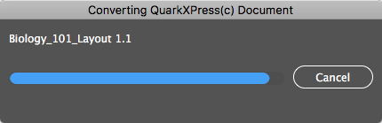 Conversion Progress Window in Q2ID Software to Convert QuarkXPress to InDesign CC