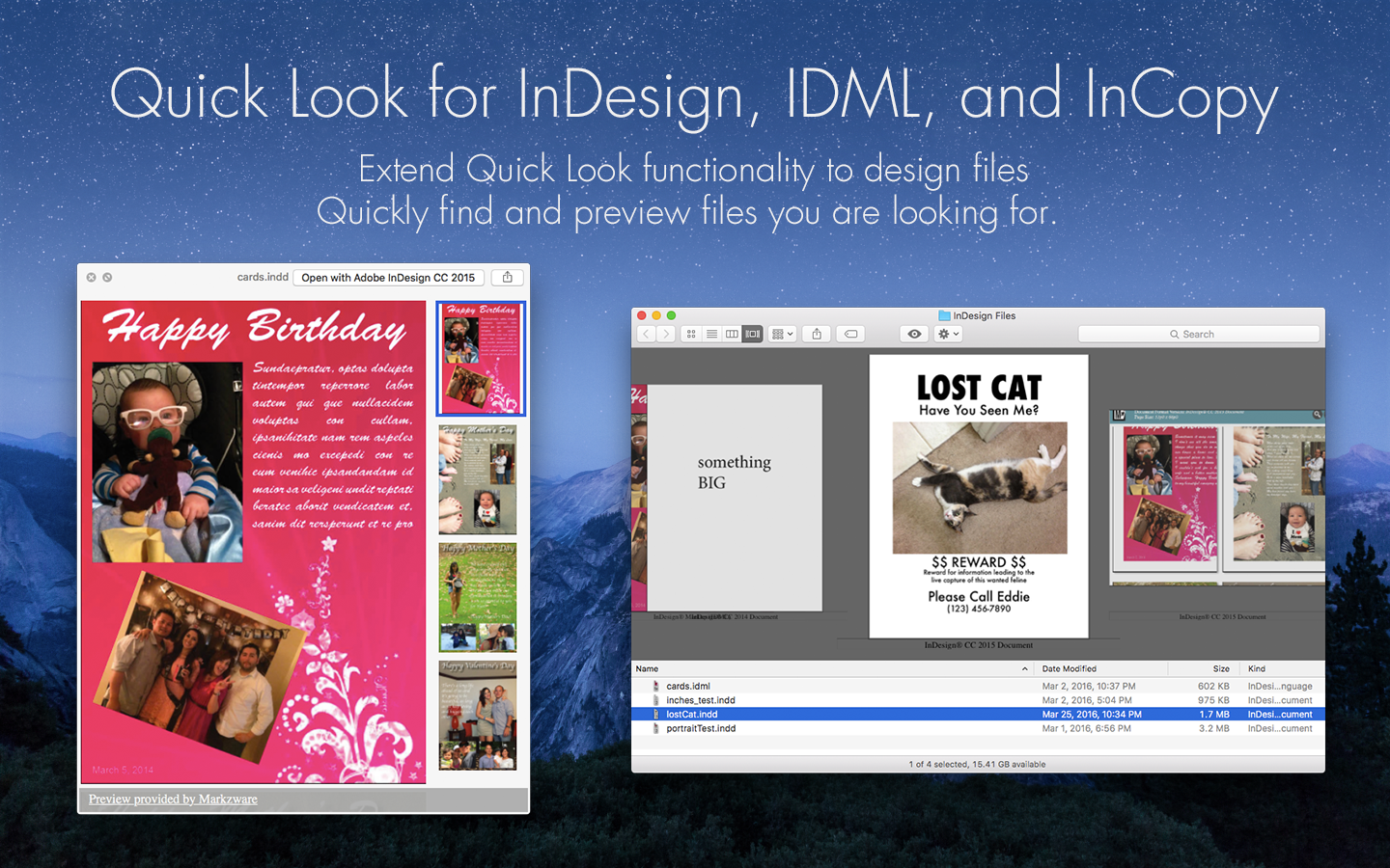 Quick Look Find & Preview InDesign, IDML & InCopy Files via Markzware ID Util for macOS App