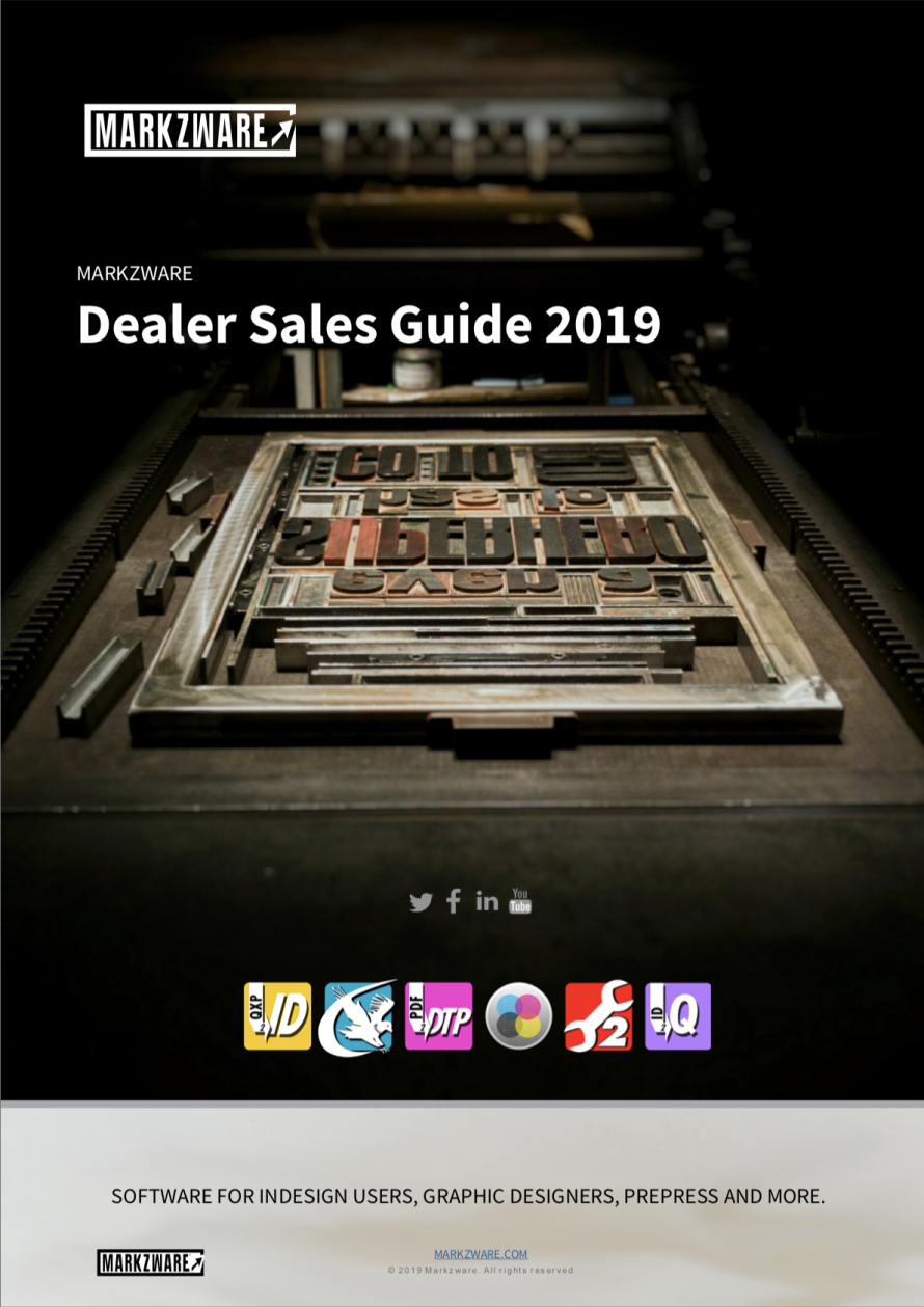 Markzware Dealer Sales Guide 2019 for InDesign Resellers & Consultants of DTP (Desktop Publishing) Software