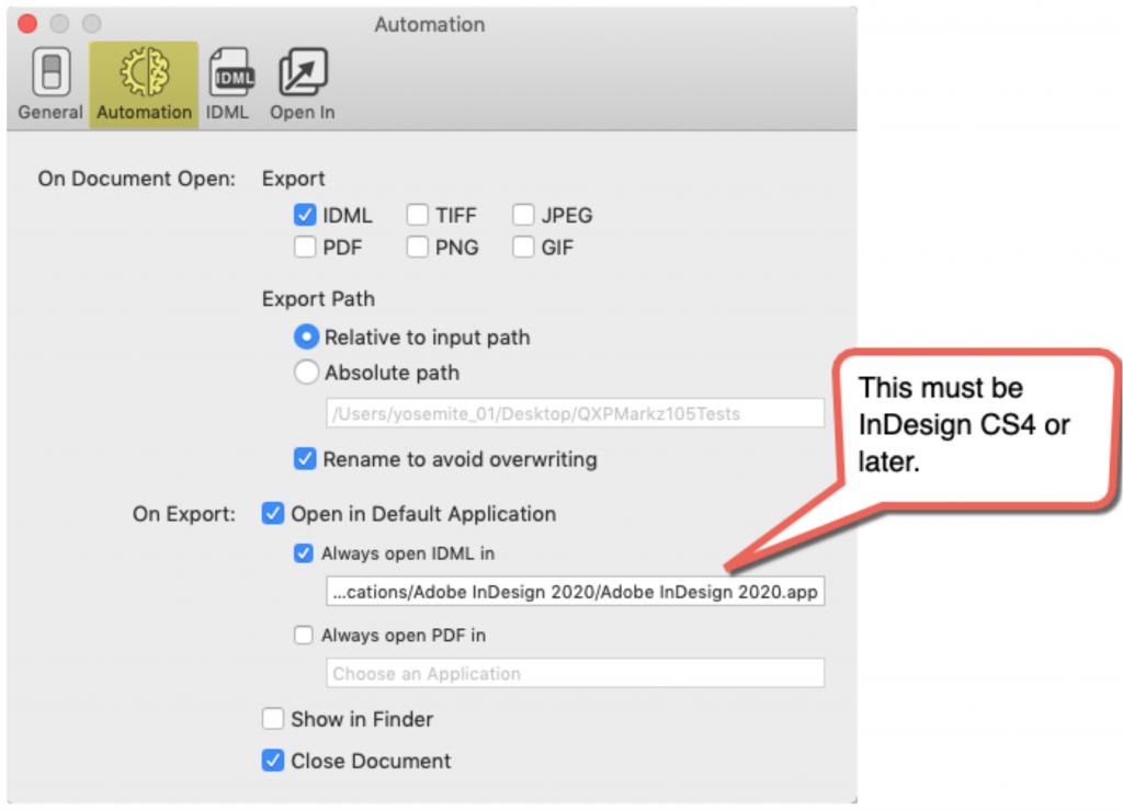 Auto Open QuarkXPress as IDML in Adobe InDesign via Markzware's QXPMarkz app