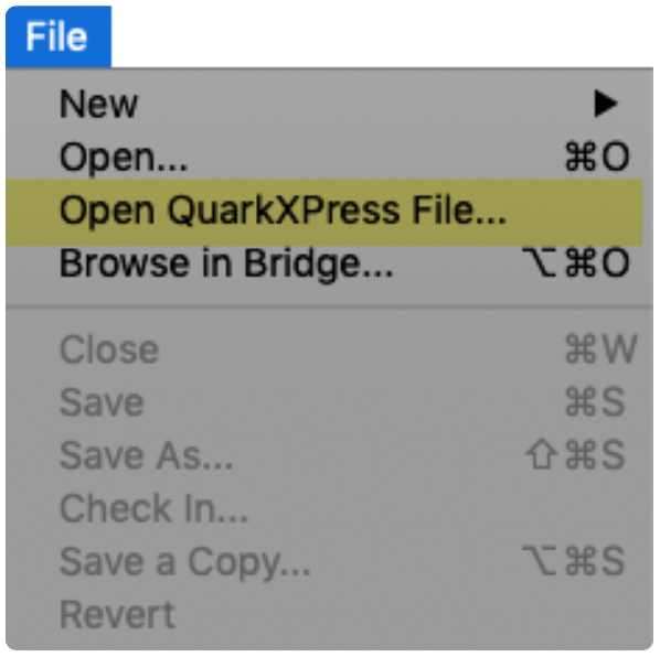 QXPMarkz Open QuarkXPress File item under InDesign File menu