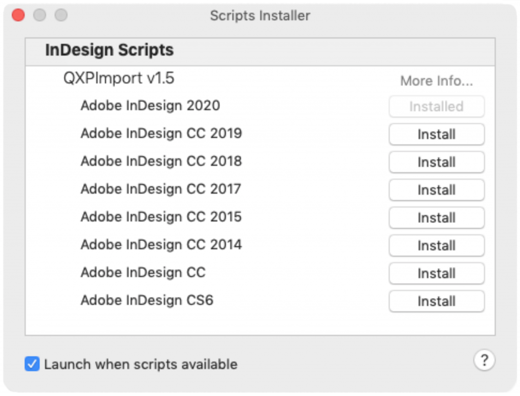 Markzware QXPMarkz Scripts Installer window