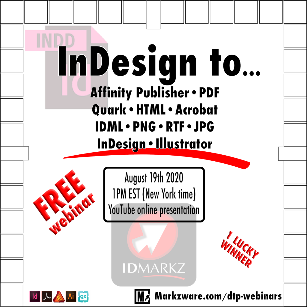 InDesign to Affinity, Quark, Adobe and more a webinar YouTube live presentation