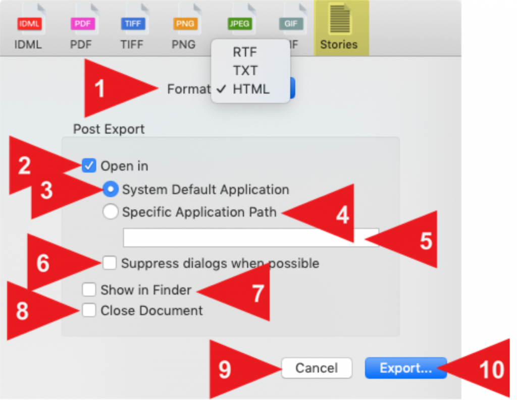 Export Adobe InDesign Story Text as HTML for web, email, social media, etc., via Markzware's IDMarkz macOS app