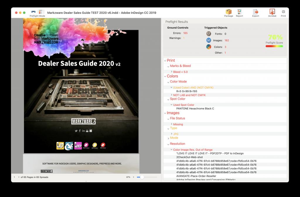 FlightCheck 2022 βeta - Preview Mode with Preflight Errors and Warnings